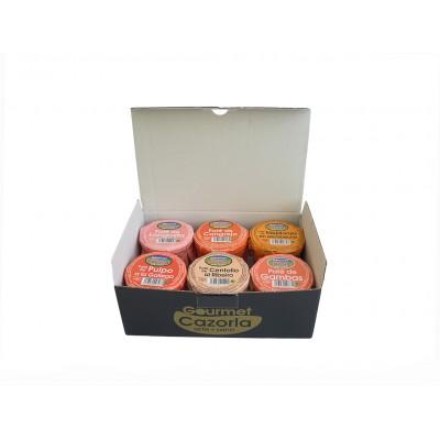 Caja de Patés de Langosta, Cangrejo, Mejillones en Escabeche, Pulpo a la Gallega, Centollo al Ribeiro y Gambas Gourmet Cazorla