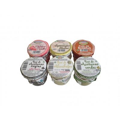 Patés de Pimientos del Piquillo, Espárragos Blancos, Boletus, Aceitunas Negras, Alcachofas y Aceitunas Verdes Gourmet Cazorla