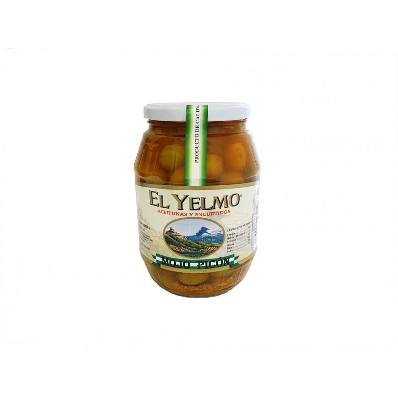 Aceitunas Mojo Picón Aceitunas y Encurtidos El Yelmo 550 g etiqueta