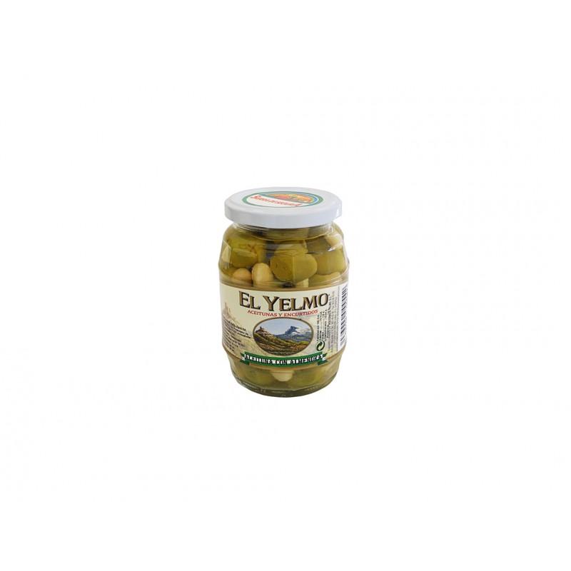 Aceituna con Almendra Aceitunas y Encurtidos El Yelmo 180 g etiqueta