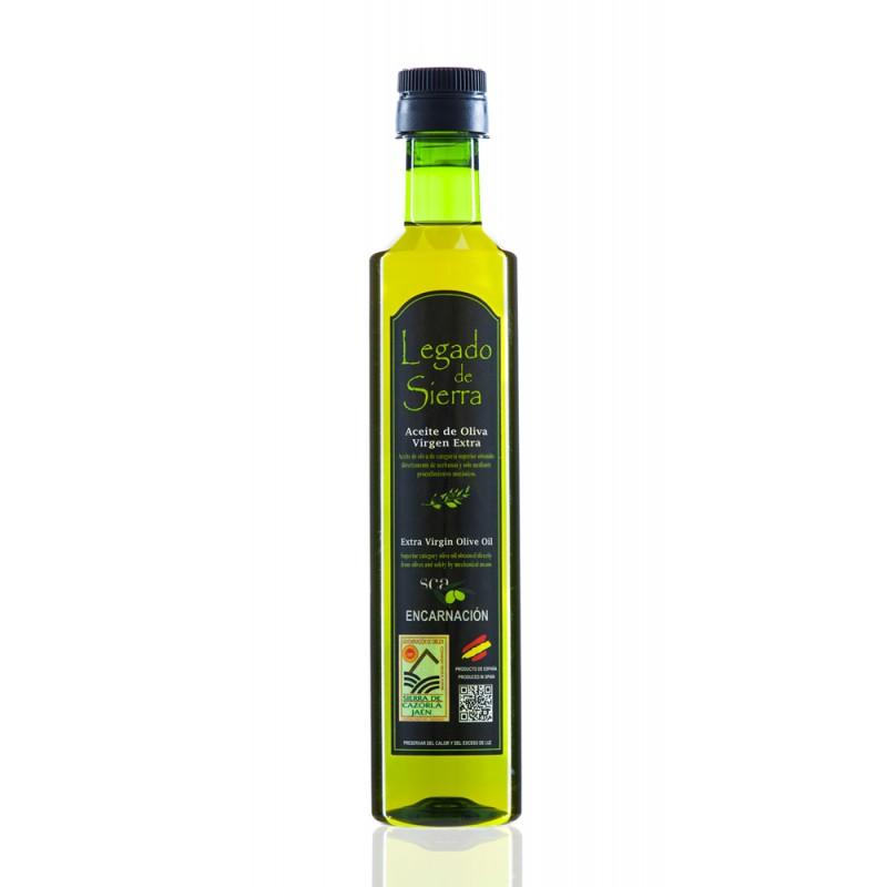 Caja con 15 botellas de Aceite de Oliva Virgen Extra Picual D.O. Sierra de Cazorla - Botella PET 500 ml Legado de Sierra