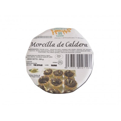 Etiqueta de la Morcilla de Caldera 320 g Embutidos Carrasco