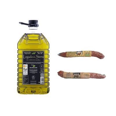 Lote Gourmet con Aceite de Oliva Virgen Extra Picual con D.O. Sierra de Cazorla y Salchichón de Ciervo y Jabalí Etiqueta Negra