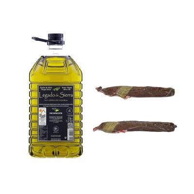 Lote Gourmet con Aceite de Oliva Virgen Extra Picual con D.O. Sierra de Cazorla y Chorizo de Ciervo y Jabalí Artesanos