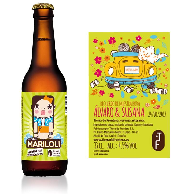 Cerveza Artesanal Mariloli (Estilo Golden Ale) 33 cl + Etiqueta personalizada para Bodas