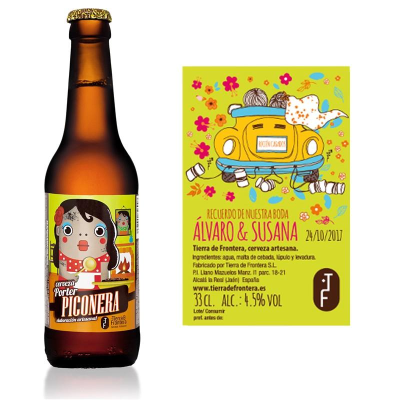 Cerveza Artesanal Piconera (Estilo Brown Porter) 33 cl + Etiqueta personalizada para Bodas