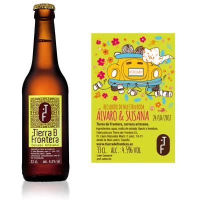 Cerveza Artesanal Tierra de Frontera (Estilo Pale Ale) 33 cl + Etiqueta personalizada para Bodas