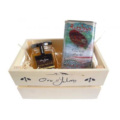 Caja con Miel Pura Oro del Yelmo y Aceite de Oliva Virgen Extra Temprano, con D.O. Sierra de Cazorla, variedad Royal Rotalaya
