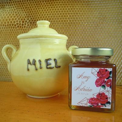 Miel Pura Artesanal de Flores 125 g con Pegatina Personalizada para detalles de boda, comunión, bautizo...