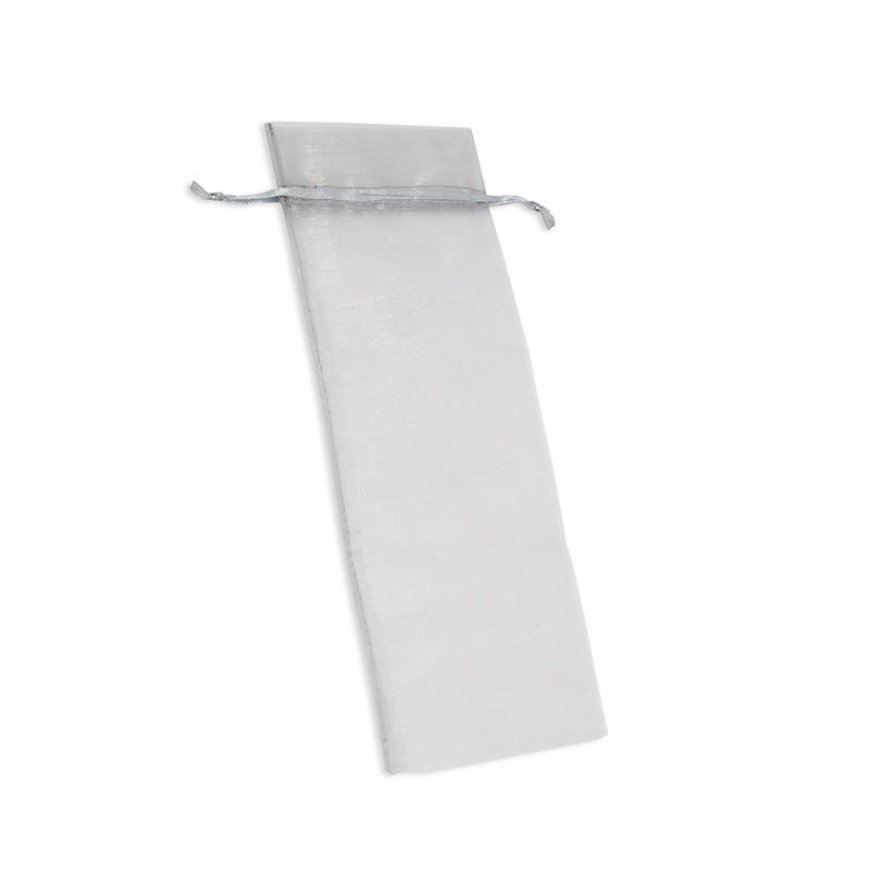 Bolsa regalo para detalles, Organza color Plata, medidas 7 x 26 cm