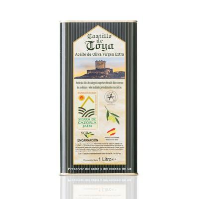 Caja con 12 latas de 1 l de Aceite de Oliva Virgen Extra variedad Picual D.O. Sierra de Cazorla