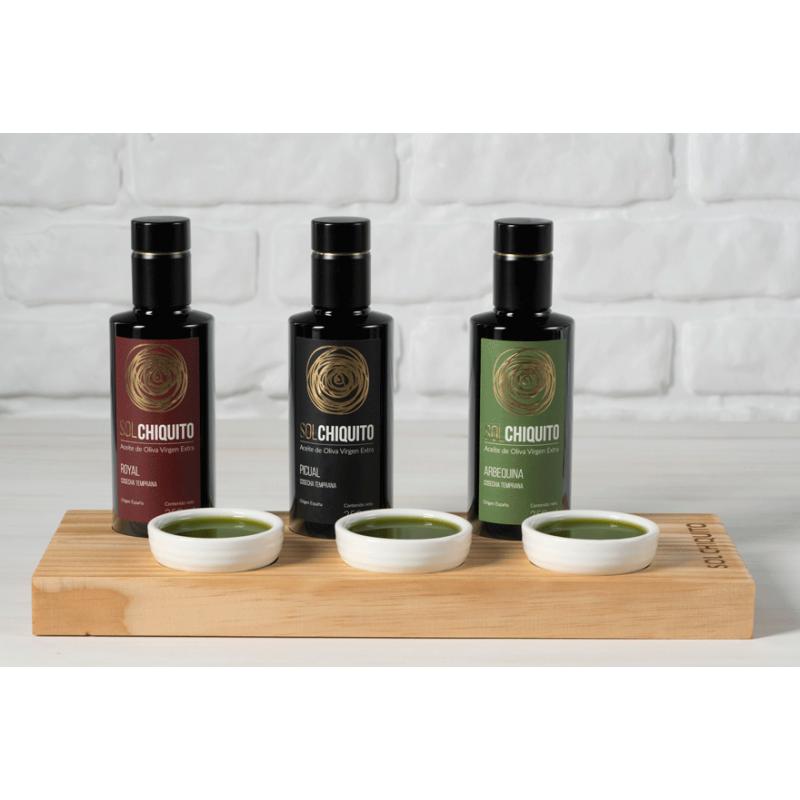 Tabla de degustación de AOVEs Tempranos Royal, Picual y Arbequina 250 ml Sol Chiquito