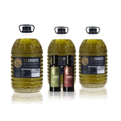 AOVE variedad Picual 5 litros + botellas de Aceite Temprano variedades Royal y Arbequina 250 ml (Sierra de Cazorla, Jaén)
