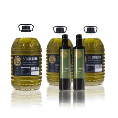 AOVE variedad Picual 5 litros y Aceite Temprano variedad Arbequina 500 ml (Sierra de Cazorla, Jaén)