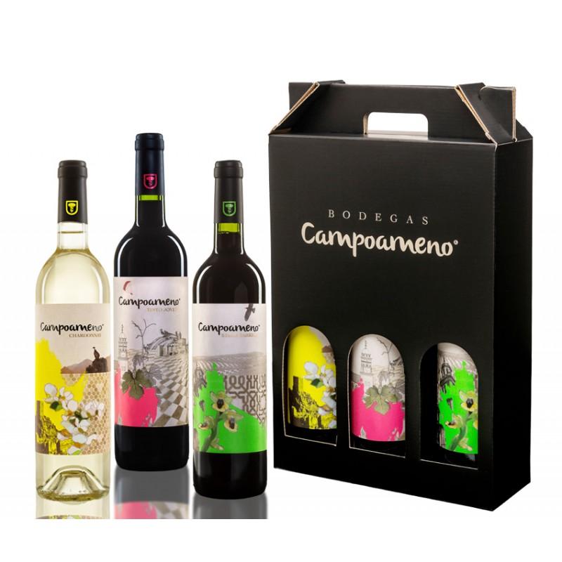 Estuche de Vinos Campoameno Chardonnay, Campoameno Tinto Joven y Campoameno Syrah Barrica