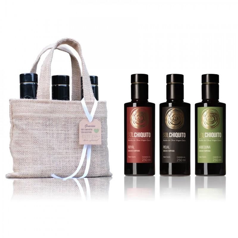 Bolsa regalo con 3 botellas de AOVE Temprano variedades Royal, Picual y Arbequina 250 ml Sol Chiquito